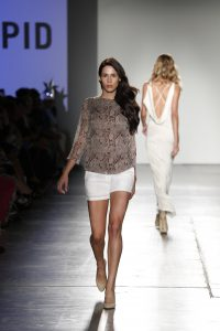A model walks the runway at Nolcha Shows During New York Fashion Week Spring/Summer 2016 Collections NYFW - Intrepid By Aoc at Pier 59 on September 13, 2015 in New York City.