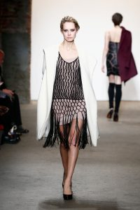NEW YORK, NY - FEBRUARY 15: A model walks the runway wearing Minan Wong at Nolcha shows during New York Fashion Week Women's Fall/Winter 2016 presented by Neogrid at ArtBeam on February 15, 2016 in New York City. (Photo by Brian Ach/Getty Images For Nolcha)