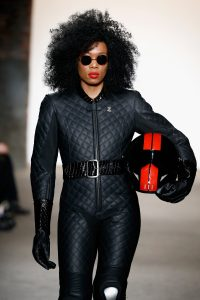 NEW YORK, NY - FEBRUARY 15: A model walks the runway wearing Planet Zero Motorsports at Nolcha shows during New York Fashion Week Women's Fall/Winter 2016 presented by Neogrid at ArtBeam on February 15, 2016 in New York City. (Photo by Brian Ach/Getty Images For Nolcha)
