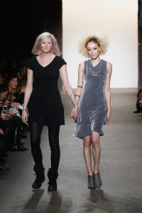 NEW YORK, NY - FEBRUARY 15: Designer Jeannette Svensk Li and a model walk the Cute Like Mad runway at Nolcha shows during New York Fashion Week Women's Fall/Winter 2016 presented by Neogrid at ArtBeam on February 15, 2016 in New York City. (Photo by Brian Ach/Getty Images For Nolcha) *** Local Caption *** Jeannette Svensk Li