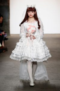 NEW YORK, NY - FEBRUARY 15: Model Misako Aoki walks the