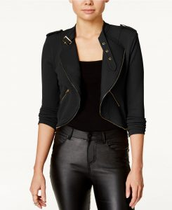 Material Girl Juniors' Cropped Military Jacket, Only at Macy's