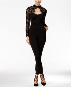 Material Girl Juniors' Lace-Detail Illusion Jumpsuit, Only at Macy's