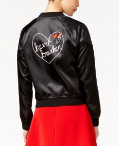 Material Girl Juniors' Heart Breaker Graphic Bomber Jacket, Only at Macy's