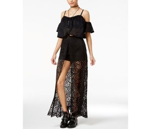 Material Girl Juniors' Lace Cold-Shoulder Top & Maxi Skort, Only at Macy's